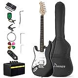 Donner Guitarra Eléctrica para zurdos de tamaño completo de 39 pulgadas con amplificador, bolsa, capo, correa, cuerda, sintonizador, cable y púas (Negro, DST-100BL)