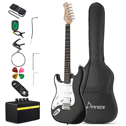 Donner DST-1BL Solid Body 39 Inch Left Handed Full-Size Electric Guitar Kit Black, Beginner Starter, with Amplifier, Bag, Capo, Strap, String, Tuner, Cable, Picks