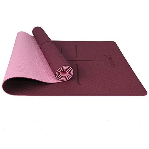 Ativafit, tappetino da ginnastica, in TPE, antiscivolo, per yoga, fitness, pilates e ginnastica, con tracolla, dimensioni: 183 x 64 x 0,6 cm, Lilla