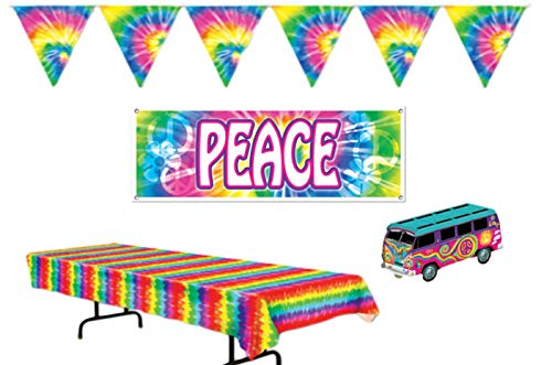 Retro 60's Peace Tie Dye Party Decorations: Bundle Includes Centerpiece, Tablecover, Peace Banner, and Flag Pennant Banner