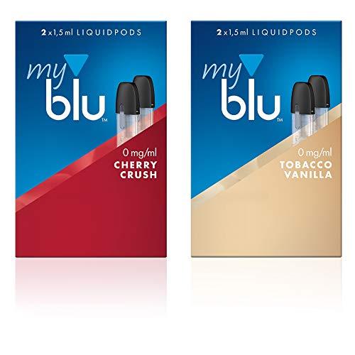 2 x Doppelset Liquids Geschmack Cherry Crush und Tobacco Vanilla - Ohne Nikotin - mit eingebautem Verdampfer für Elektronische Zigarette Myblu + Gratis Hygiene Set 1