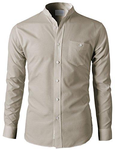 H2H Men's Casual Slim Fit Oxford Mandarin Collar Button-Down Shirt with Pocket Beige US L/Asia 2XL (KMTSTL0501)