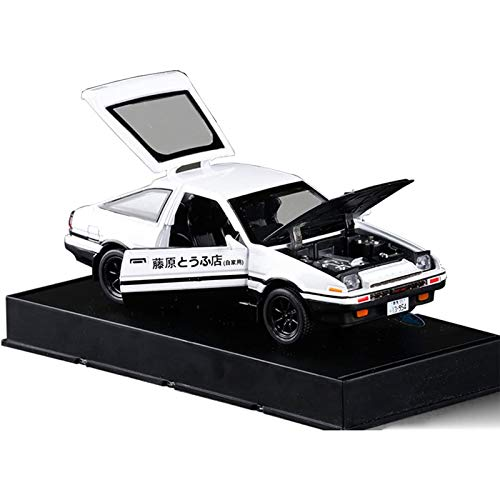 KMT 1:32 Initial D Toyota Trueno AE86 Alloy Diecast Car Model, Sports Car Toys for Kids and Adults ,Pull Back Vehicles Toy Cars (Black Hood+White)