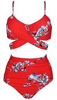 COCOSHIP Red & White & Jade Pink Garden Flower Retro Ruched High Waist Bikini Set Criss Cross Push Up Swim Bath Suit 10