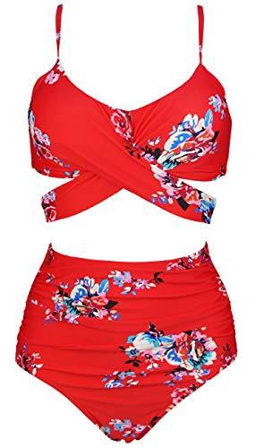 COCOSHIP Red & White & Jade Pink Garden Flower Retro Ruched High Waist Bikini Set Criss Cross Push Up Swim Bath Suit 6