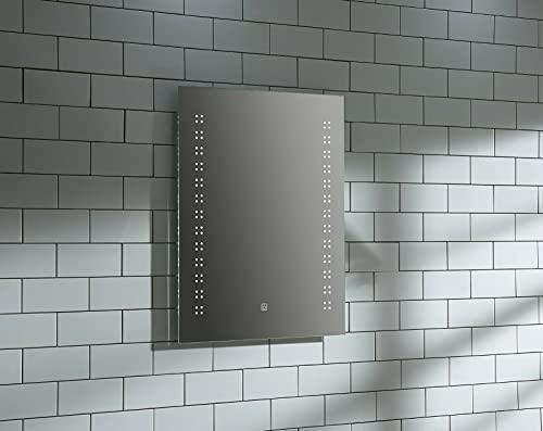 Home Supplies Espejo LED para baño, espejo de baño iluminado con luces LED regulables, antivaho, a prueba de roturas, espejos de pared templados con almohadilla antiempañamiento (Gamma, 600 x 800 mm)