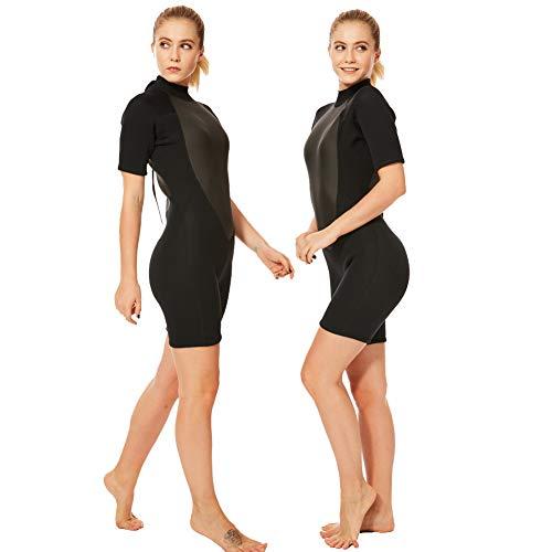 Realon 2mm Shorty Wetsuit Women CR Neoprene Surfing Scuba Diving Snorkeling Swimming Suit (2mm Shorty Black, Large)