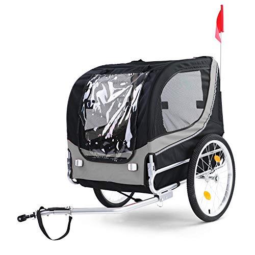 RAMROXX 37995 Fahrradanhänger Hundeanhänger klappbar für Haustiere Grau Schwarz bis 40Kg