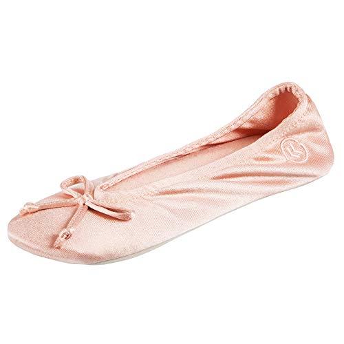 isotoner Women's Satin Ballerina Slipper, Suede Sole, Evening Sand Soft tie Bow, 6.5-7. 5
