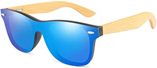 Fashion Luxury Rimless Mirrored Square Sunglasses for Women/Men Wood Bamboo Oversized Sunglasses Retro (Color : Blue)