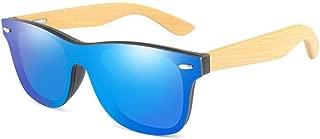 Fashion Luxury Rimless Mirrored Square Sunglasses for Women/Men Wood Bamboo Oversized Sunglasses Retro (Color : Blue)