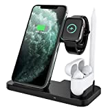 Yaature Caricatore Wireless, 4 in 1 Qi Supporto di Ricarica Wireless Rapida per Apple Watch 5/4/3/2 & AirPods Pro/2/1 & Apple Pencil, iPhone11/11 Pro/11 PRO Max/X/XS/XS Max/XR/8/8 Plus