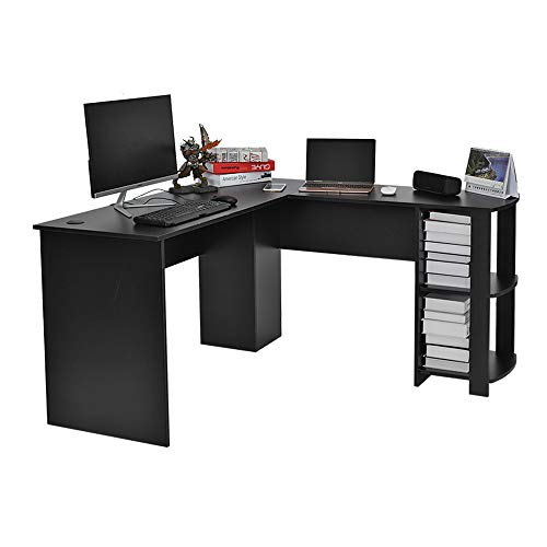 WEIBO Wood Corner Computer Desk Home Office L-Shaped Workstation Table with Bookshlef