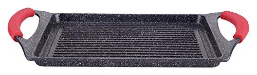 Euronovità EN-22141 Padella, Griglia, bistecchiera pietra nera 46 cm stone vulcanica rivestimento in pietra,fondo induzione