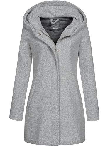 Eight2Nine Damen Strickmantel LETN-053 Jacke mit Kapuze Light Grey Mel XS