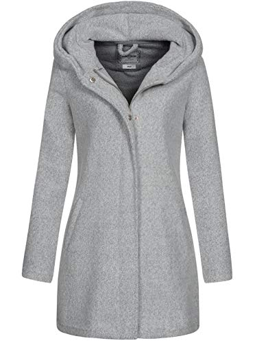 Eight2Nine Damen Strickmantel LETN-053 Jacke mit Kapuze Light Grey Mel XS
