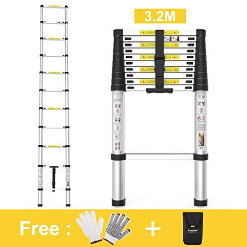 Finether 3.2 m Telescopic Ladder EN131 Certified 11 Steps Aluminium Portable Lightweight