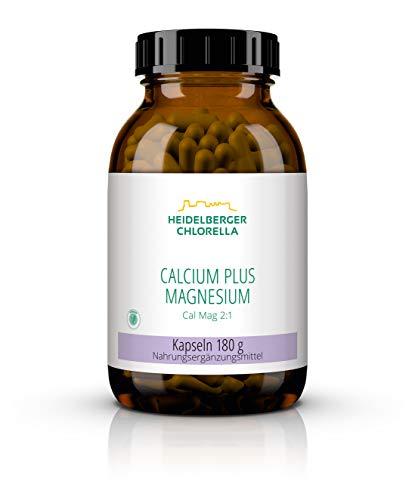 Heidelberger Chlorella Calcium plus Magnesium Kapseln, hochreines Kombiprodukt, vegan, im natürlichen Verhältnis 2:1, gute Bioverfügbarkeit, 360 Kapseln, 180 g