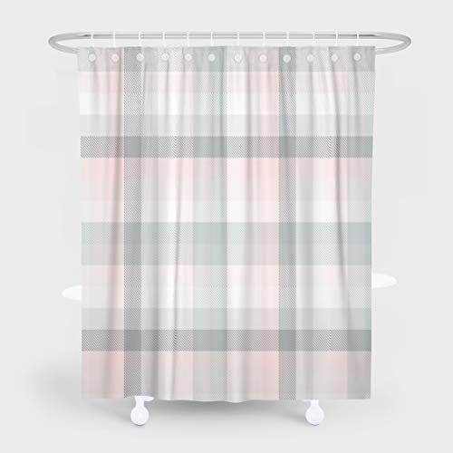 Grey Check Plaid Shower Curtain,HdmlyPlaid Check Pastel Gray Pink and White Fabric 72x78 Inch Fabric Bathroom Shower Curtain Cloth Polyester Waterproof Bath Curtain Art Bathroom Decor, Pink