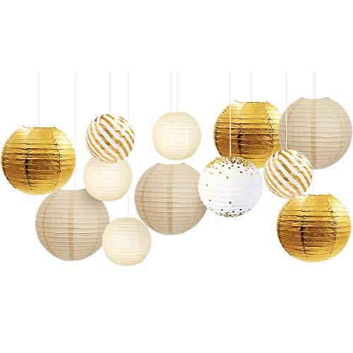 NICROLANDEE Gold Weiß Party Dekorationen - 12 Stück Weiß und Gold Glitzer Papierlaternen für romantische Party-Dekoration, beste Hochzeitszubehör, Abschlussfeier, Babyparty, Geburtstagsdekoration