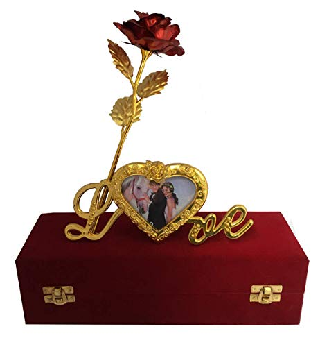 Lavanaya Silver 22K Gold Rose with Love Stand and Gift Box