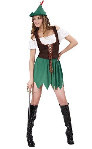 Fiori Paolo- Robin Girl Costume Donna Adulto, Verde, Taglia 40-42, 62059