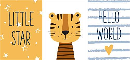 POSTORO Ensemble d`affiches de chambre d`enfants, décoration du chambre d`enfants, décoration garçon fille (3 x A3 sans cadres photo, Hello World)