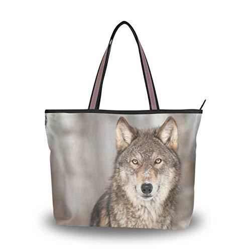 RULYY Large Tote Bags Animal Wolf Women Handbags with Zipper Ladies Girls Shoulder Bag for School,Work,Shopping,Travel