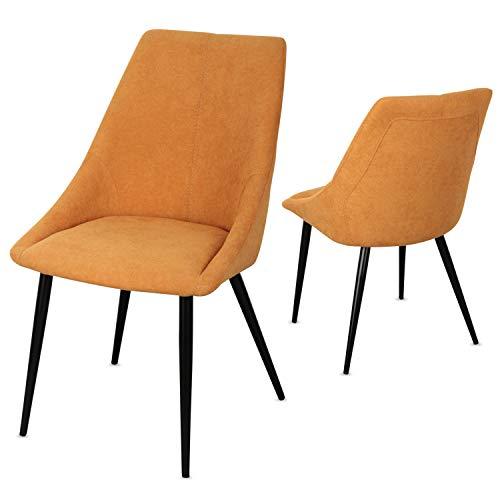 Staboos Stühle 2er Set CH80 - Hochwertiger Polsterstuhl bis zu 150 kg belastbar - Strapazierbarer Stoff Sessel - Premium Dining Chair - leicht montierbare Esszimmerstühle (Senftgelb)