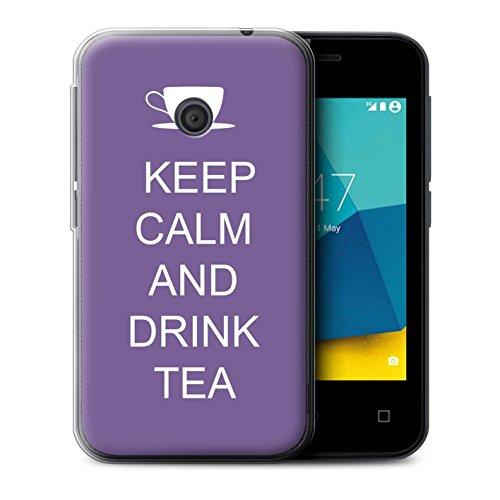 Stuff4® Gel TPU hoes/case voor Vodafone Smart First 7 / thee drinken/lila patroon/lood rustige collectie
