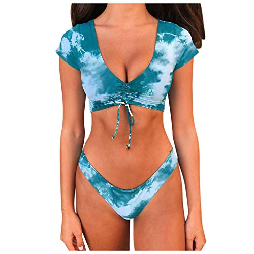HINK Monokini Trajes de baño para Mujer Sexy, Camiseta con Cuello en v para Mujer Bikini Traje de baño Traje de baño Frente con cordón Top Beach Set Azul S, Conjuntos de Bikini para Mujer
