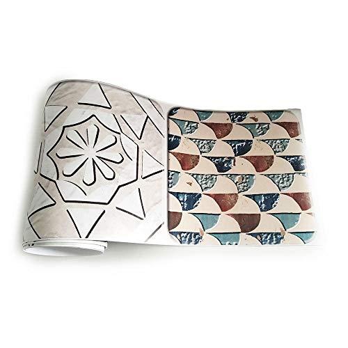 JMSHTU Pegatinas para azulejos cocina baño frontera autoadhesivo Beige mosaico DIY pared Peel Stick Decoración extraíble impermeable