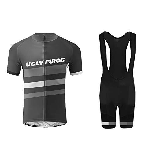 Uglyfrog+ Radtrikot - Breathable Kurzarm Bike Trikot mit 3D Gel Pad Bib Shorts für Pro Bicycle Team Clothing