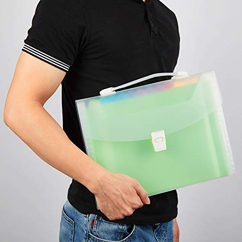 13 Pockets Expanding File Folder with Handle, Waterproof Organizer File Folder at A4/Letter Size, Filing Folders Used for Organizing Bills and Paper Files-WEGAZ Photo #7