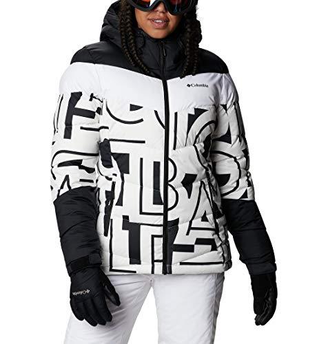 Columbia Abbott Peak Insulated Chaqueta De Esquí con Capucha, Mujer, Blanco, Negro (White Typo Print/Black), XS