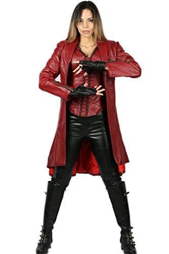 Wellgift Scarlet Witch Kostüm Cosplay Damen Erwachsene Rot Lederjacke Kleidung Halloween Verkleiden Merchandise