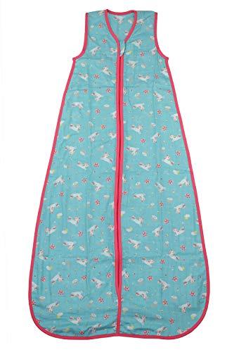 Schlummersack Kinderschlafsack Bambus-Musselin ungefüttert in 0.2 Tog - Einhorn - 3-6 Jahre / 130cm