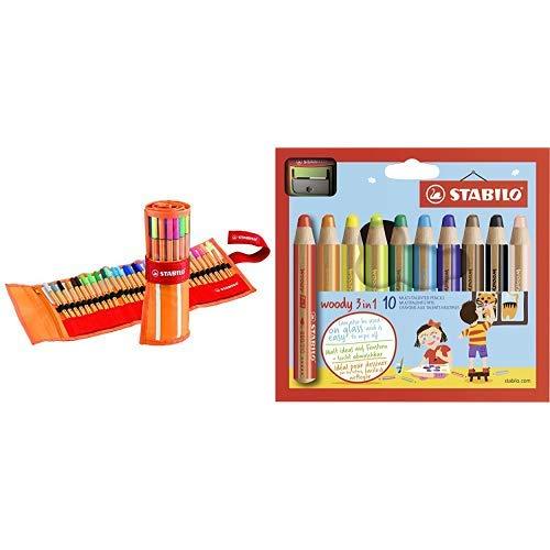 Fineliner - STABILO point 88 - 30er Rollerset - mit 30 verschiedenen Farben inklusive 5 Neonfarben & Buntstift, Wasserfarbe & Wachsmalkreide - STABILO woody 3 in 1 - 10er Pack mit Spitzer