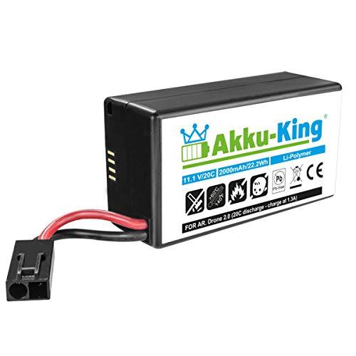 Akku-King Akku kompatibel mit Parrot AR.Drone 2.0, AR Drone Quadrocopter - Li-Polymer 2000 mAh - 11,1V