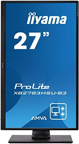 iiyama ProLite XB2783HSU-B3 68,6cm (27″) AMVA+ LED-Monitor Full-HD (VGA, HDMI, DisplayPort, USB2.0) Höhenverstellung, Pivot, schwarz - 2