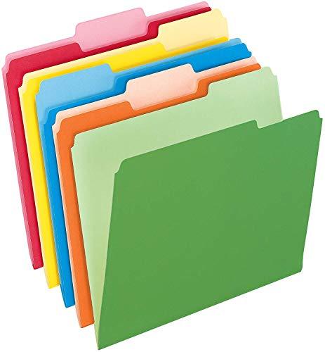200-Count, Two-Tone Color File Folders, Letter Size, Assorted Colors, 1/3 Cut, 200 per Box