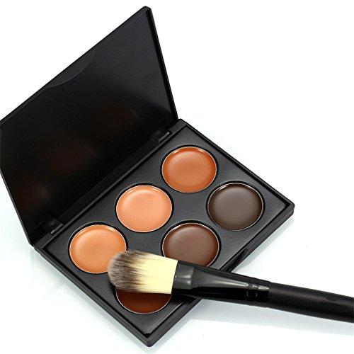 FantasyDay® 6 Couleurs Palettes de Maquillage Crème Correcteur Contour Palette Anti-cernes Mettez en Surbrillance Camouflage Fond de Teint Cosmétique Set + 1 Pcs Pinceaux Maquillage Trousse