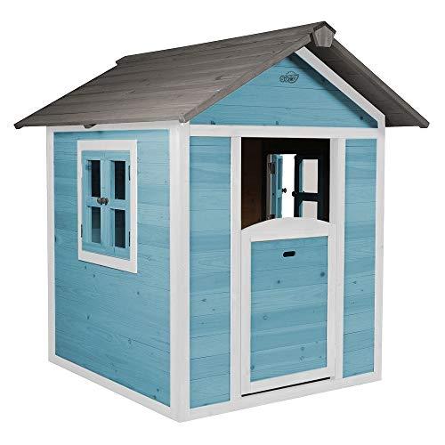 Beauty.Scouts Holzspielhaus Sun 102x94x133cm aus Zedernholz in blau-weiß Kinder Spielhaus Kinderspielhaus modern Spitzdach Schwedenhaus Stil gemütlich