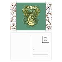 ブラック・ホワイト・バロック美術の羽のイラスト 公式ポストカードセットサンクスカード郵送側20個