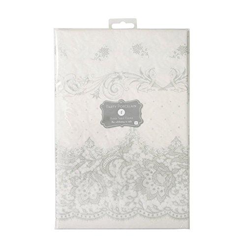 Talking Tables - Tovaglia Quadrata 140 cm della Serie Party Porcelain, 1 Pezzo Colore Argento