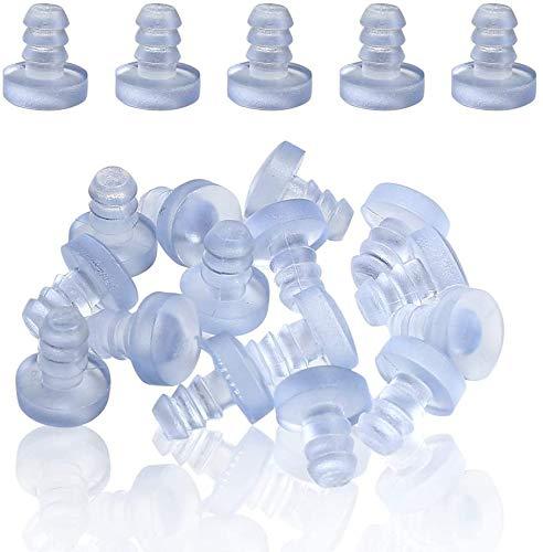 Greluma 100 Stk Tischstoßstangen aus Glas mit Vorbau, durchsichtigen Gummigriffen, Abstandhalter für Terrassentische, für 3/16-Zoll-Loch