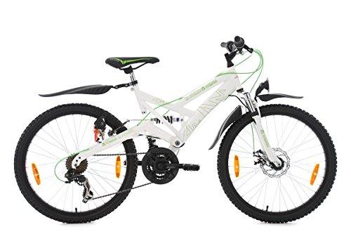 KS Cycling Kinderfahrrad Mountainbike 24'' ATB Fully 4Masters weiß-grün RH 42 cm