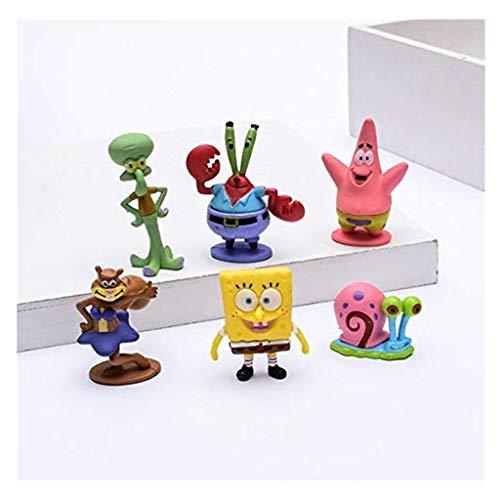 DYRCJ Movie Doll Spongebob Nettes Modellierspielzeug Aquarium Dekoration Geburtstagsgeschenk 6er Set