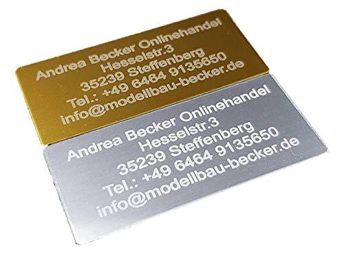 Andrea Becker Onlinehandel Adressschild / Drohnen Plakette / Drohnen Kennzeichen / Multicopter Kennzeichnung / Namensschild / Schilder mit hochwertiger Lasergravur (30x15mm, Silber)