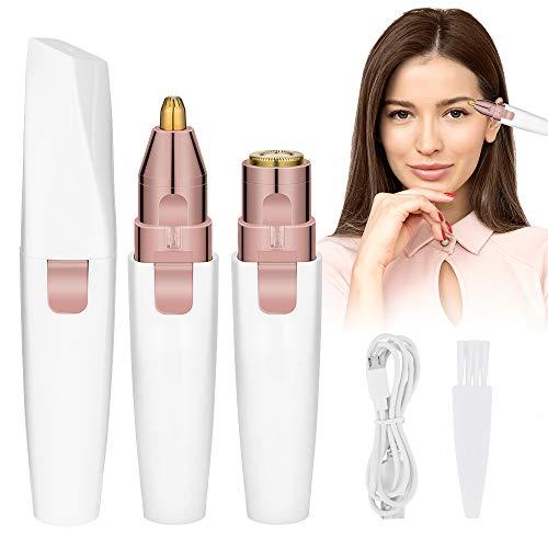 HALOVIE Depiladora Facial Mujer Electrica Afeitadora Removedor de Vello 2 en 1 Maquina Depilar Facial USB Recargable Impermeable Portátil sin Dolor Luz LED para Mejillas Labios Barbilla Cuello Cejas